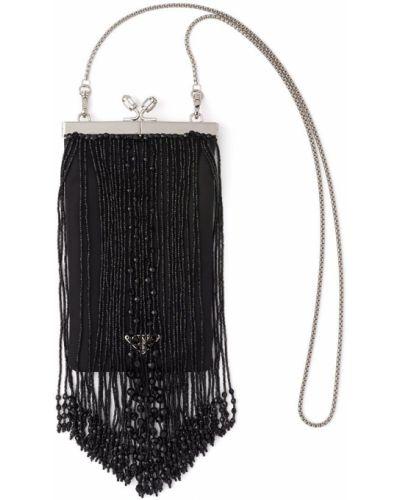 Czarna sprzęgło na łańcuchu srebrna z haftem Prada