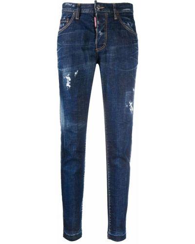 Хлопковые синие джинсы с нашивками на молнии Dsquared2