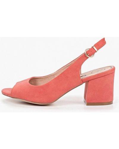 Босоножки на каблуке розовый из нубука Betsy