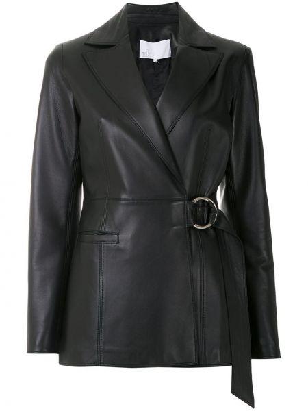 Черный кожаный пиджак Nk