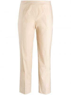 Хлопковые бежевые укороченные брюки стрейч Piazza Sempione