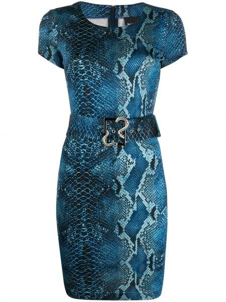 Синее платье мини с поясом с вырезом Just Cavalli