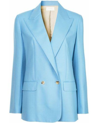 Прямой синий классический пиджак с карманами The Row