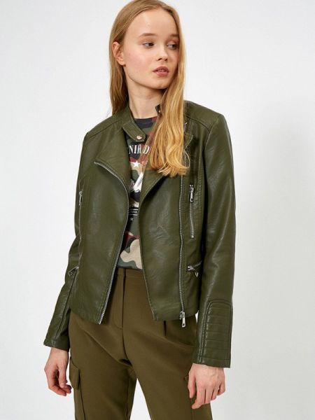 Кожаная куртка весенняя зеленая Koton