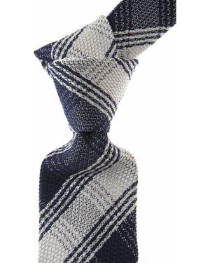 Niebieski krawat w paski z jedwabiu Belvest