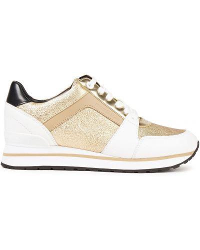 Кожаные кроссовки на шнурках золотые Michael Michael Kors