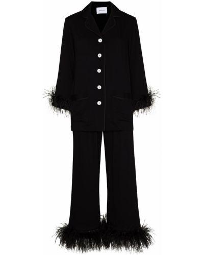 Черная пижама на пуговицах из вискозы Sleeper