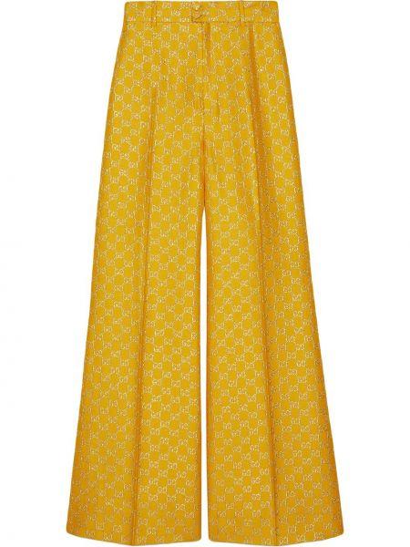 Wełniany spodni szerokie spodnie z kieszeniami bezpłatne cięcie Gucci