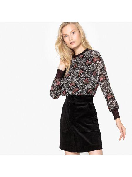 Черная блузка с длинным рукавом с вырезом с рисунком с длинными рукавами See U Soon