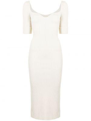 Трикотажное белое платье миди с вырезом Khaite