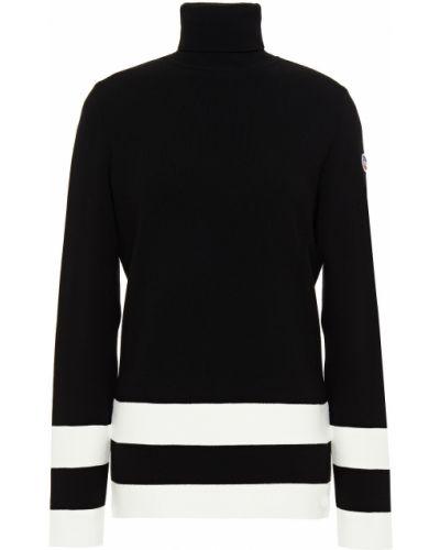 Czarny sweter w paski z wiskozy Fusalp
