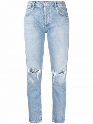 Укороченные хлопковые прямые джинсы с заплатками Citizens Of Humanity