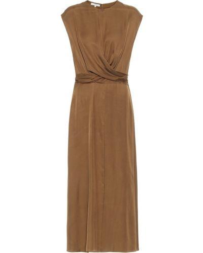 Шелковое платье миди - коричневое Vince.