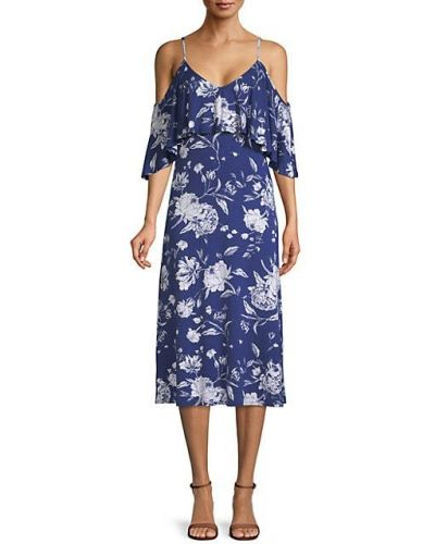 Синее платье миди с короткими рукавами с V-образным вырезом Rachel Pally