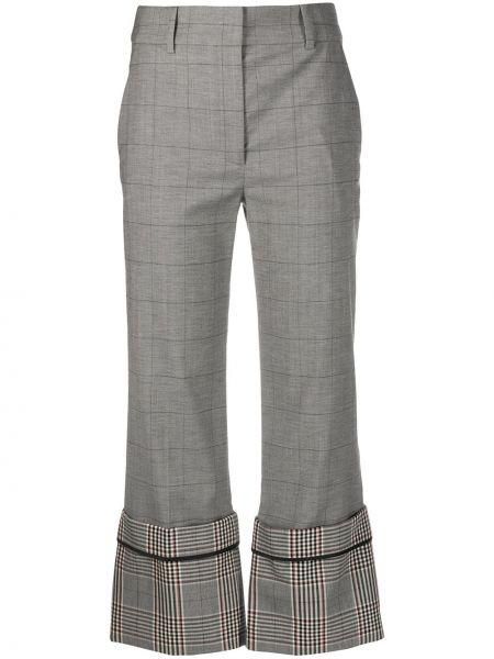 Шерстяные серые брюки свободного кроя с потайной застежкой Monse
