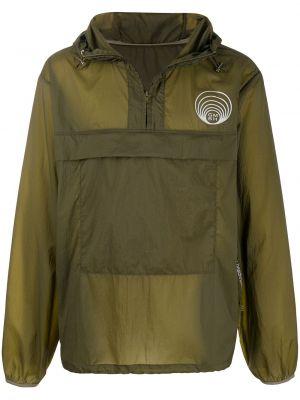 Прямая нейлоновая куртка с капюшоном на молнии с нашивками Gmbh