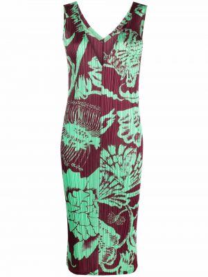 Платье макси в цветочный принт - красное Pleats Please Issey Miyake