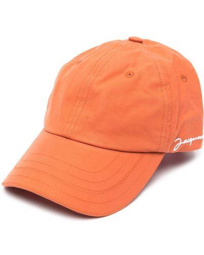 Хлопковая оранжевая бейсболка с вышивкой Jacquemus