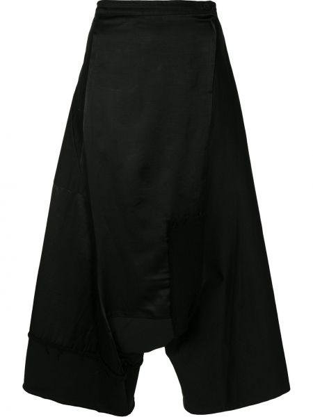Хлопковые черные брюки с запахом Y`s