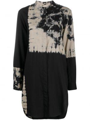 С рукавами черная рубашка с воротником-стойка Suzusan