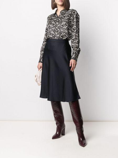 Шелковая с рукавами черная классическая рубашка Ba&sh