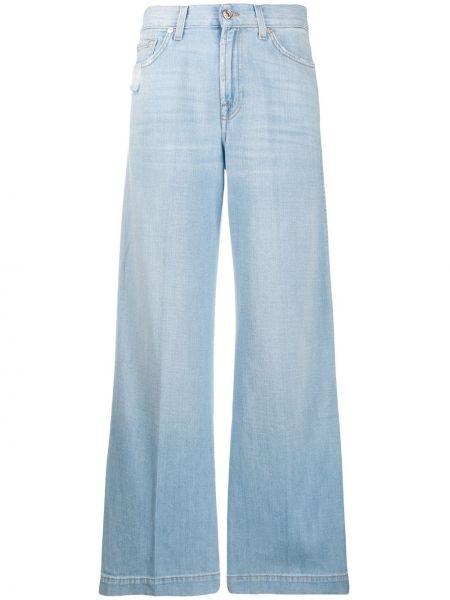 Расклешенные джинсы синие на пуговицах 7 For All Mankind