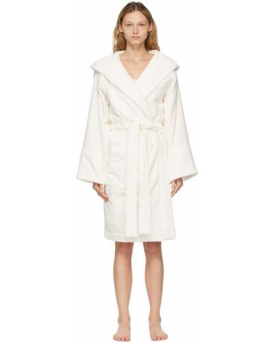 Biały długi szlafrok bawełniany z paskiem Tekla