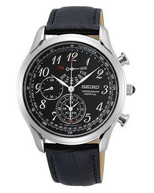 Со стрелками кожаные черные часы с кожаным ремешком круглые Seiko