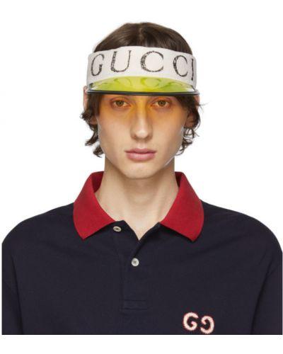 Кожаный черный козырек прозрачный Gucci