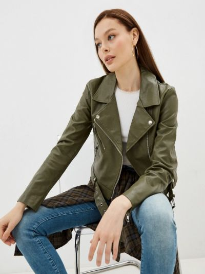 Зеленая демисезонная кожаная куртка Only