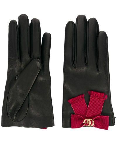 Кожаные перчатки черные Gucci