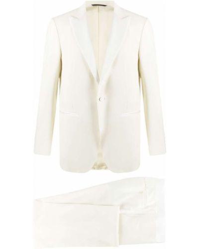 Biały garnitur slim wełniany zapinane na guziki Canali