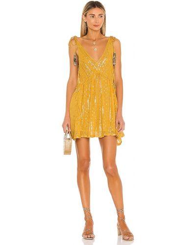 Желтое платье с люрексом с подкладкой Sundress