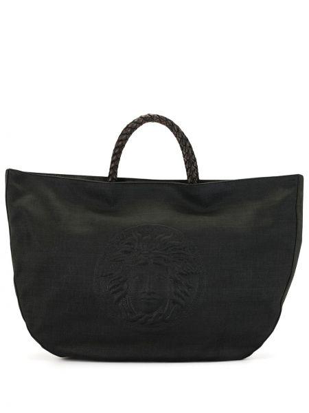 Кожаная черная сумка-тоут на кнопках Versace Pre-owned
