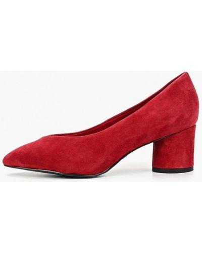 Туфли на каблуке кожаные красные Tamaris