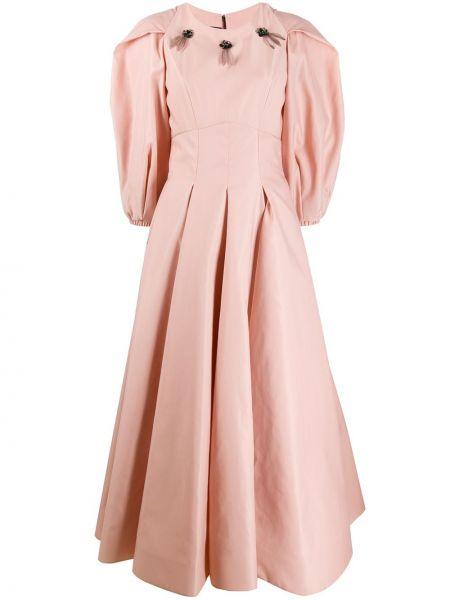 Нейлоновое розовое приталенное платье мини с камнями Avaro Figlio