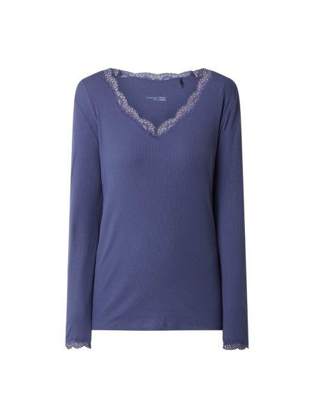 Bawełna niebieski piżama z długimi rękawami z dekoltem Schiesser