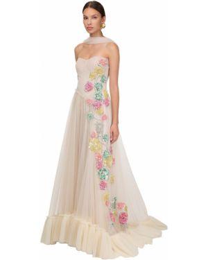 Biała sukienka długa tiulowa z cekinami Sandra Mansour