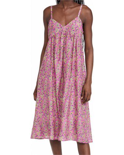 Шелковое розовое платье с декольте Xírena