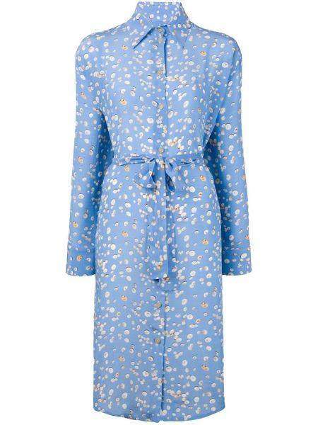 Синее шелковое платье миди на пуговицах с воротником Tara Matthews