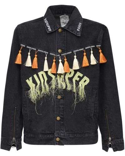 Czarna kurtka z frędzlami bawełniana Kidsuper Studios