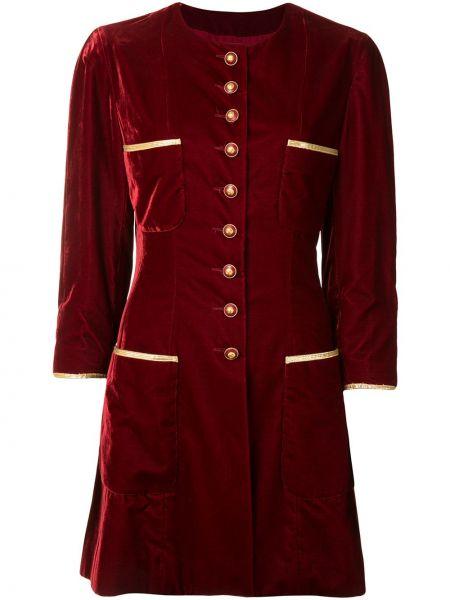 С рукавами красное пальто с карманами Chanel Pre-owned