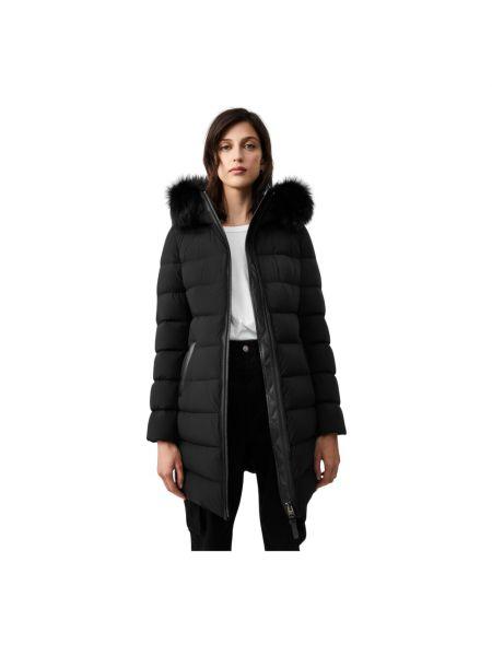 Czarny długi płaszcz pikowany casual Mackage