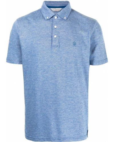 Niebieska koszula bawełniana krótki rękaw Gieves & Hawkes