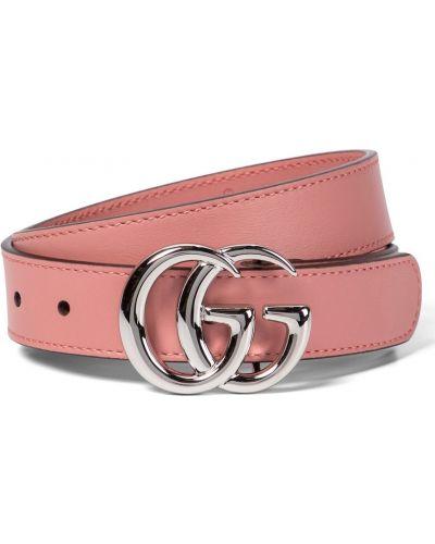 Różowy skórzany pasek z paskiem Gucci Kids