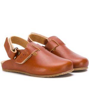 С ремешком кожаные открытые коричневые сандалии Pépé Kids