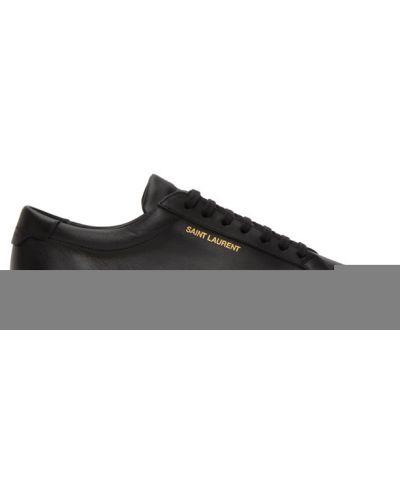 Czarny sneakersy okrągły okrągły nos zasznurować Saint Laurent