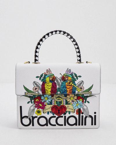 Белая сумка с ручками из натуральной кожи Braccialini