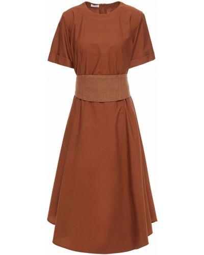 Льняное коричневое платье миди с карманами Brunello Cucinelli