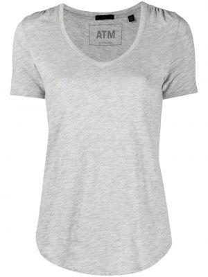 T-shirt bawełniany krótki rękaw z dekoltem w serek Atm Anthony Thomas Melillo